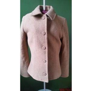 Pendleton Merino Wool Beige Coat - Petite M